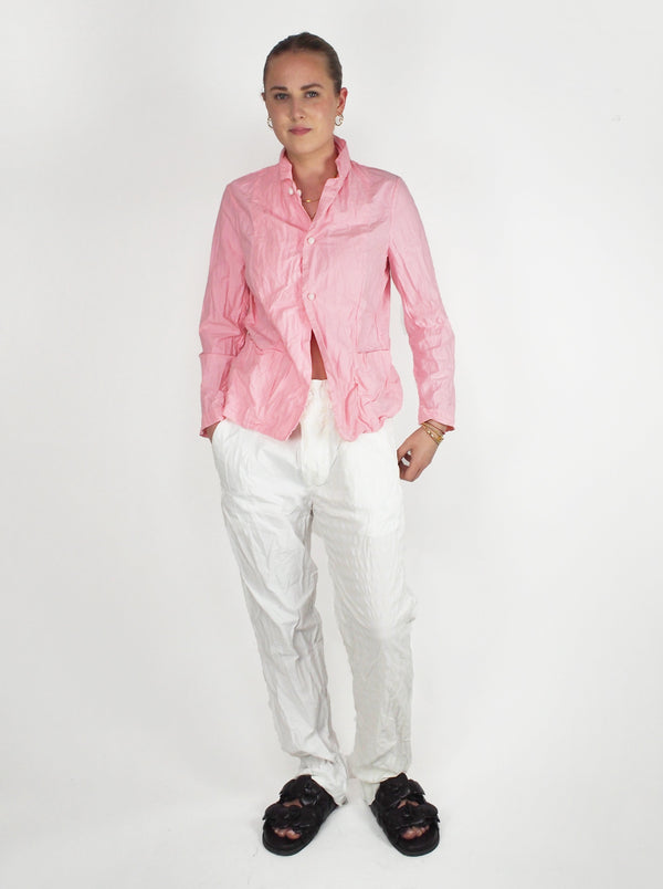 Washed Buttoned Pant - White