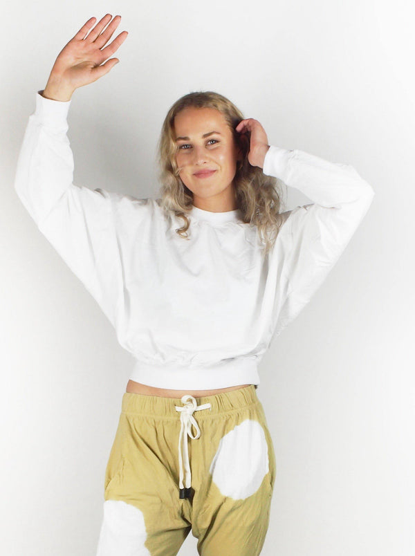 Cropped Double Jersey - White