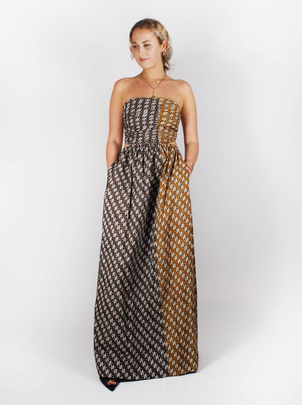 Bassike - Strapless Printed Dress - Urth Brown - Dresses - Boboli Vancouver Canada