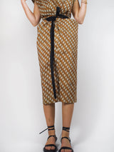 Printed Wrapped Dress - Urth Brown