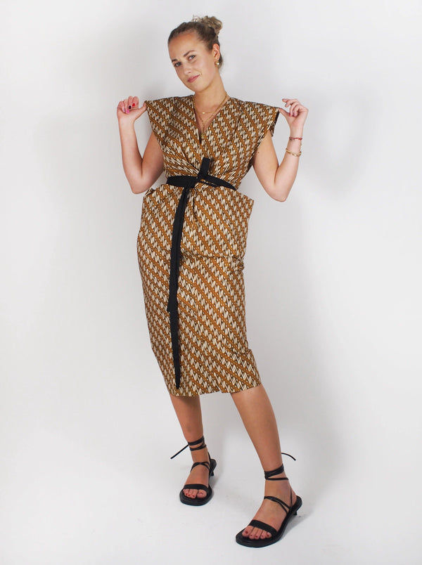 Bassike - Printed Wrapped Dress - Urth Brown - Dresses - Boboli Vancouver Canada
