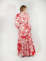 Tropical Cotton Voile Bellini Dress - Red