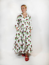 Jennifer Jane Dress in Chirpy Cactus - Off-white