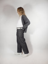 Denim Chambray Baggy Jean - Charcoal