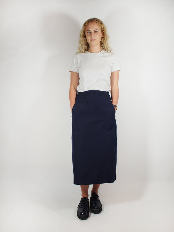 Cotton Taffeta Skirt / Zip Pocket