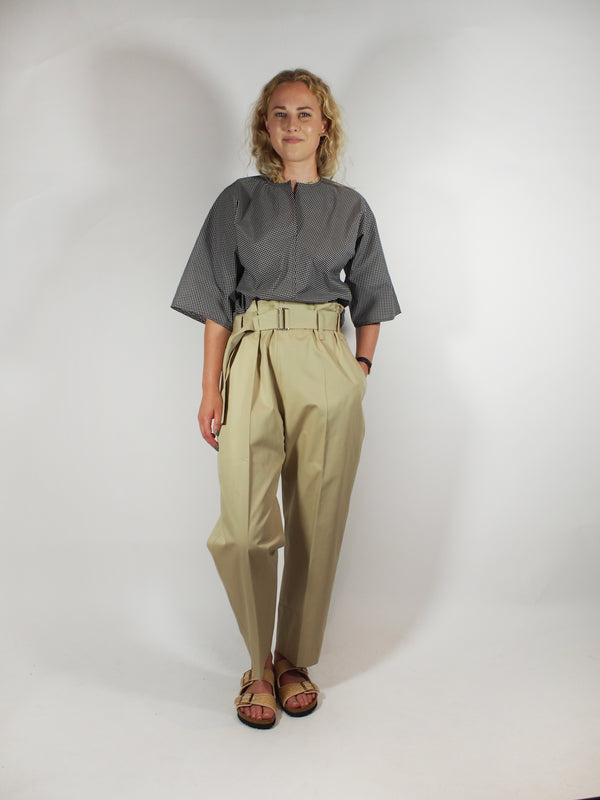 Cotton Twill Belted Gathered Waist Pant