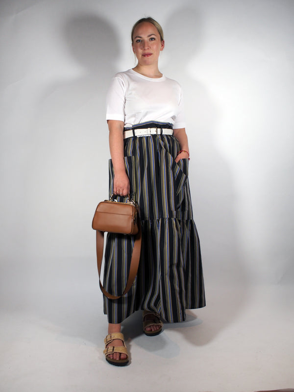 Tiered Cotton Stripe Patch Pocket Skirt