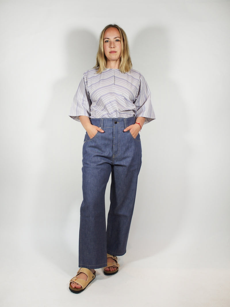 Denim Chambray Baggy Jean - Blue