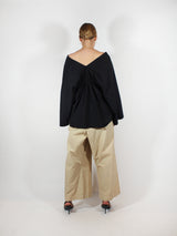 Cotton Blend 3/4 Sl Top - Black