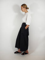 Silk/Wool Blend Elastic Waist Culotte - Black