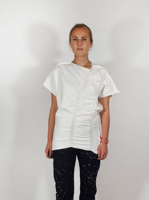 Asymmetric Banded Rouched Tee - White