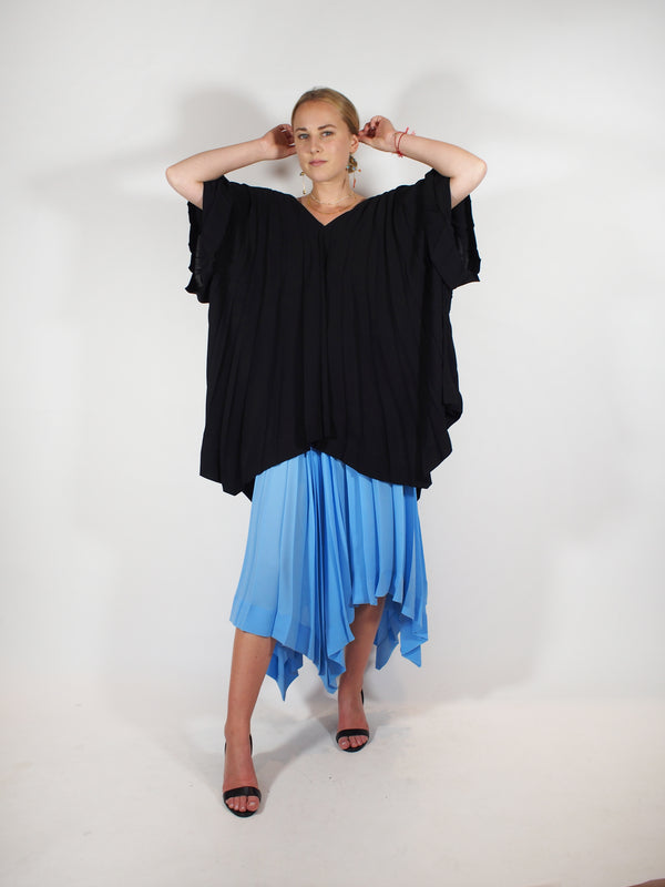 Parasol Pleats Cardigan - Black