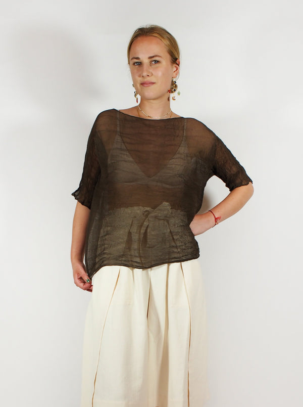 Chiffon Cropped Shirt - Brown