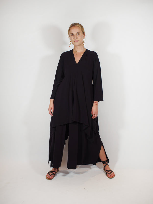Draped Jersey Culotte & V-Neck - Black