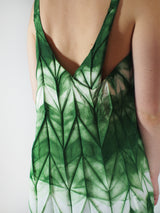 Itajime (Tie Dyed) Pleated S/L Dress - Green