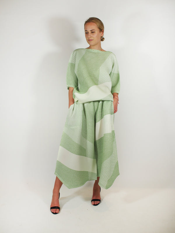 Sashiko Pleats Top/Pants - Green
