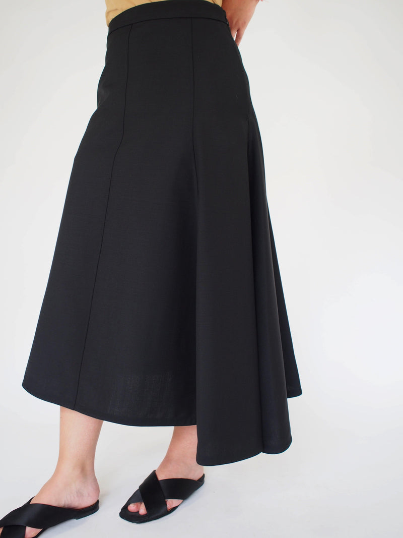 Mia Tropical Wool Skirt - Black