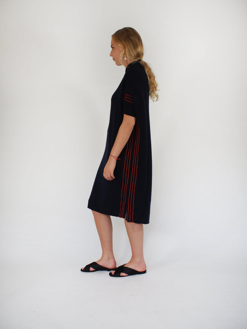 Cashmere Cocoon Back Side Stripe Dress - Navy Blue