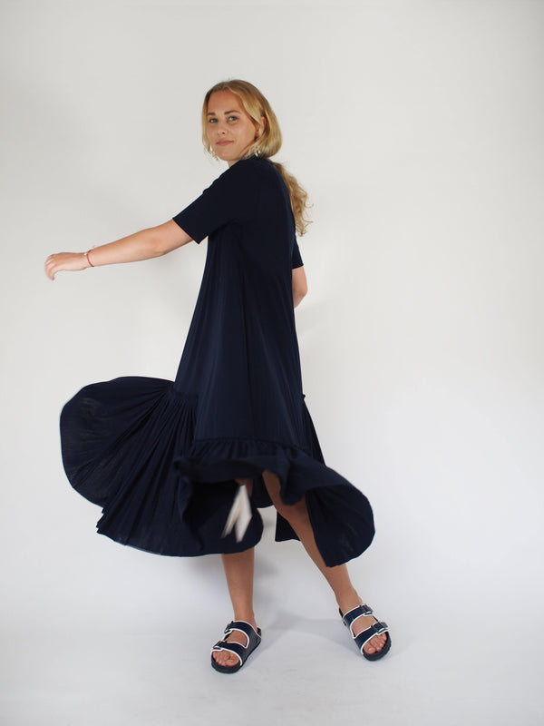 Dbl Stretch Tulle SS Ruffle Hem Dress - Navy Blue
