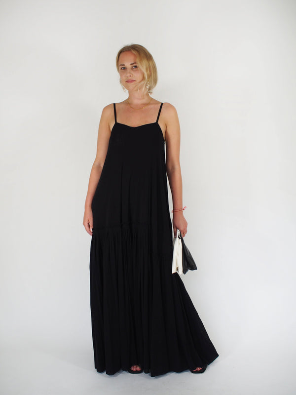 Tulle Spaghetti Strap Flounce Hem Dress - Black