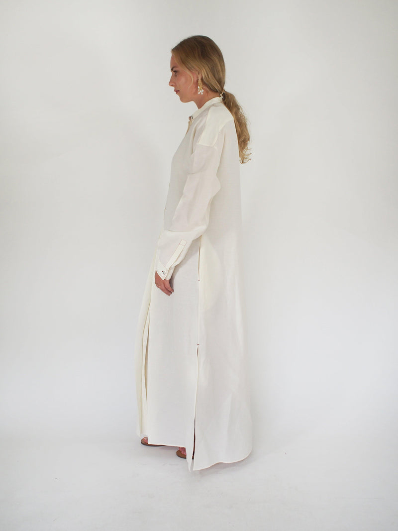 Marina Linen Blend Dress - Off White