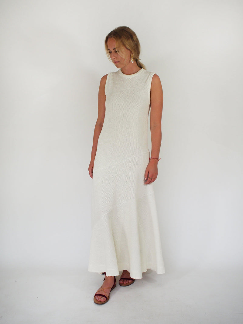 Linen Knit Bonded Stretch Jersey A Line - Off White
