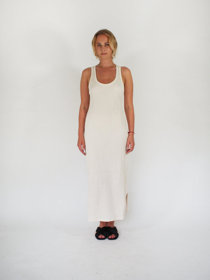 Cotton Knit Racer Back Tank Dress - Cream
