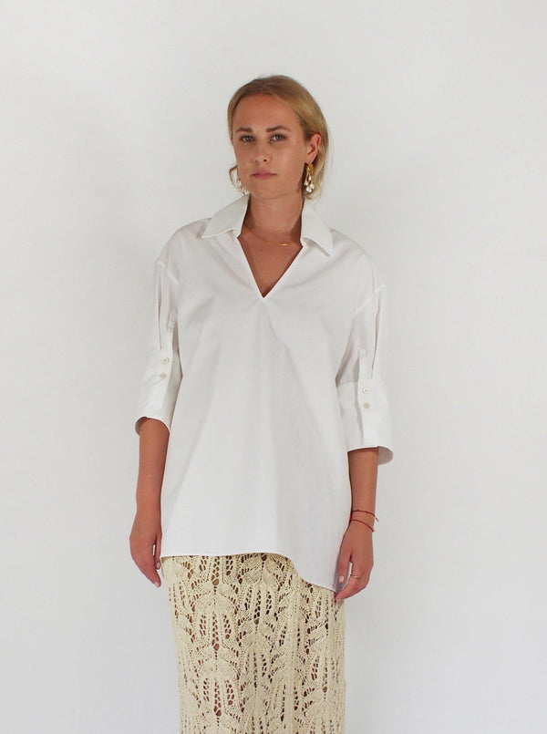 Magda Heavy Organic Cotton Poplin Shirt - White