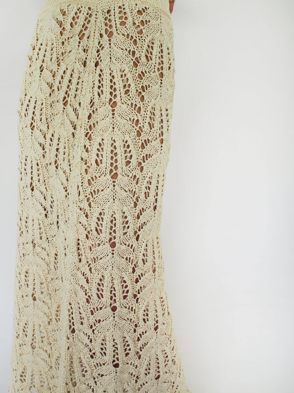 Knitted Lace Stitch Skirt - Off White