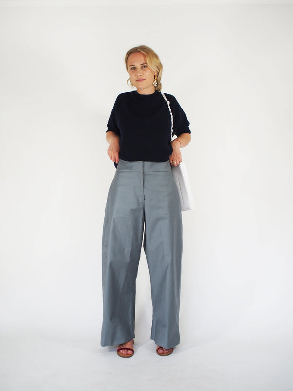 Satin Cotton Sailor Pant MRM - Blue