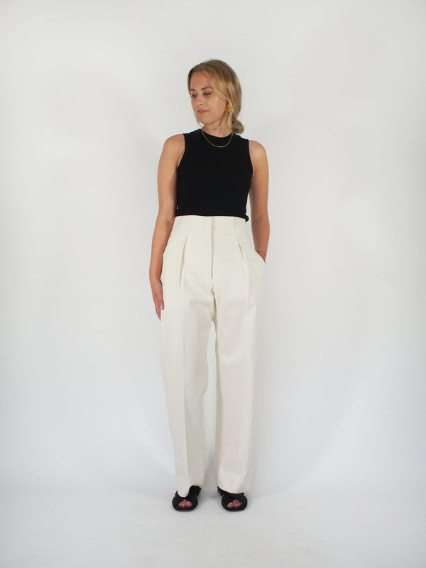 Mads Brushed Cotton Pant - Cream