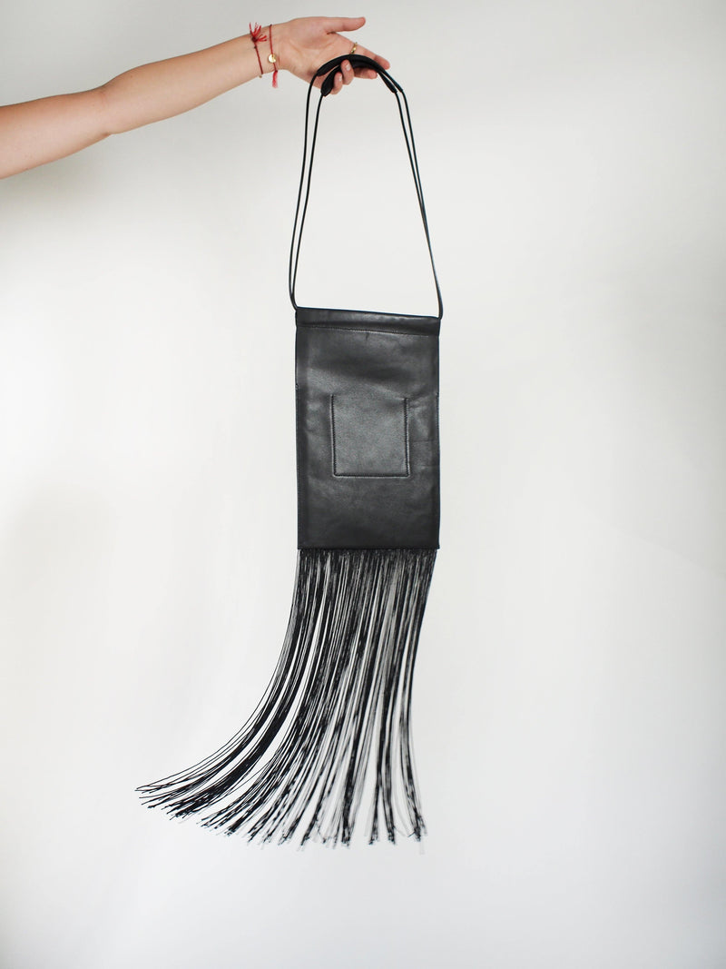 Fringed Drawstring Bag - Black