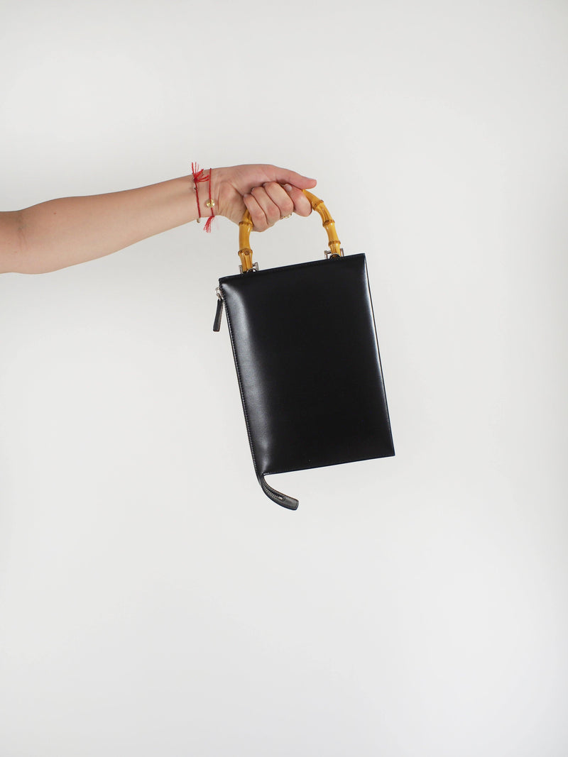 Bamboo Handle Tootie Bag - Black