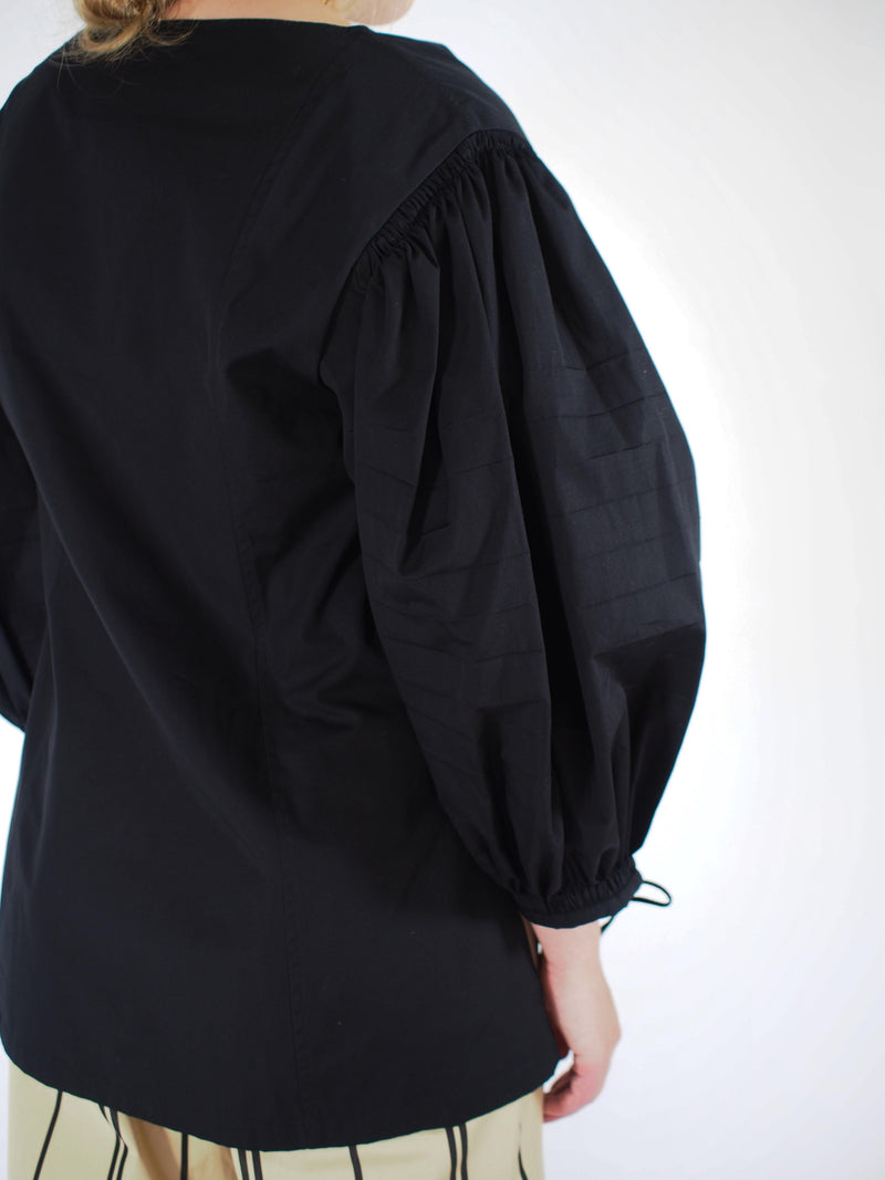 Michelle Cotton Poplin Sleeve Shirt - Black