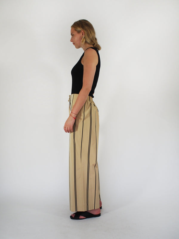 Organic Cotton Striped Cropped Pant - Sand
