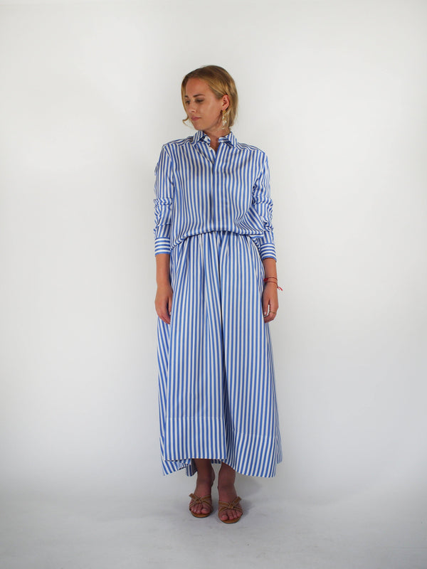 Moia Silk Striped Shirt - Light Blue