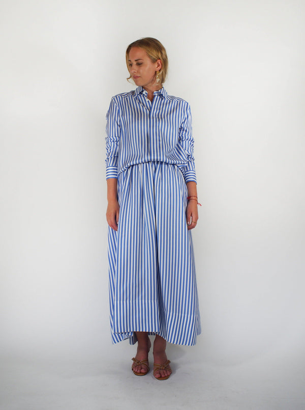 Silk Striped Skirt - Blue