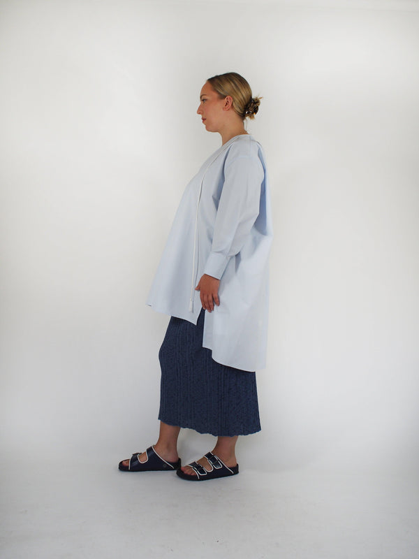 Mika Cotton Poplin Tunic Shirt - Light Blue