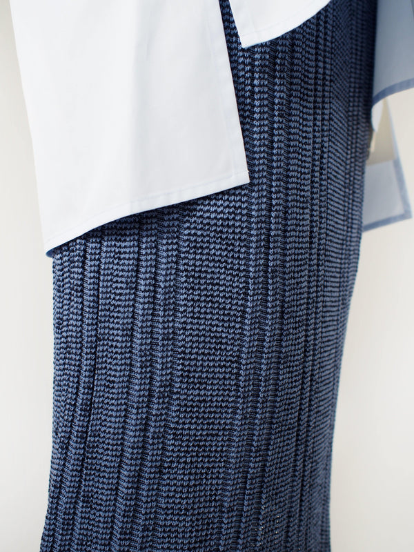 Knit Cotton Skirt - Blue