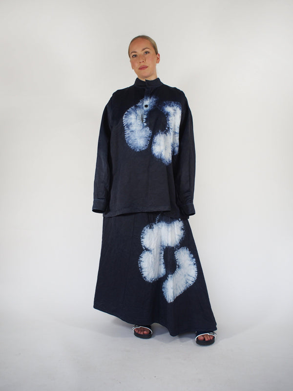 Mia Flamed Satin Batik Skirt - Navy Blue