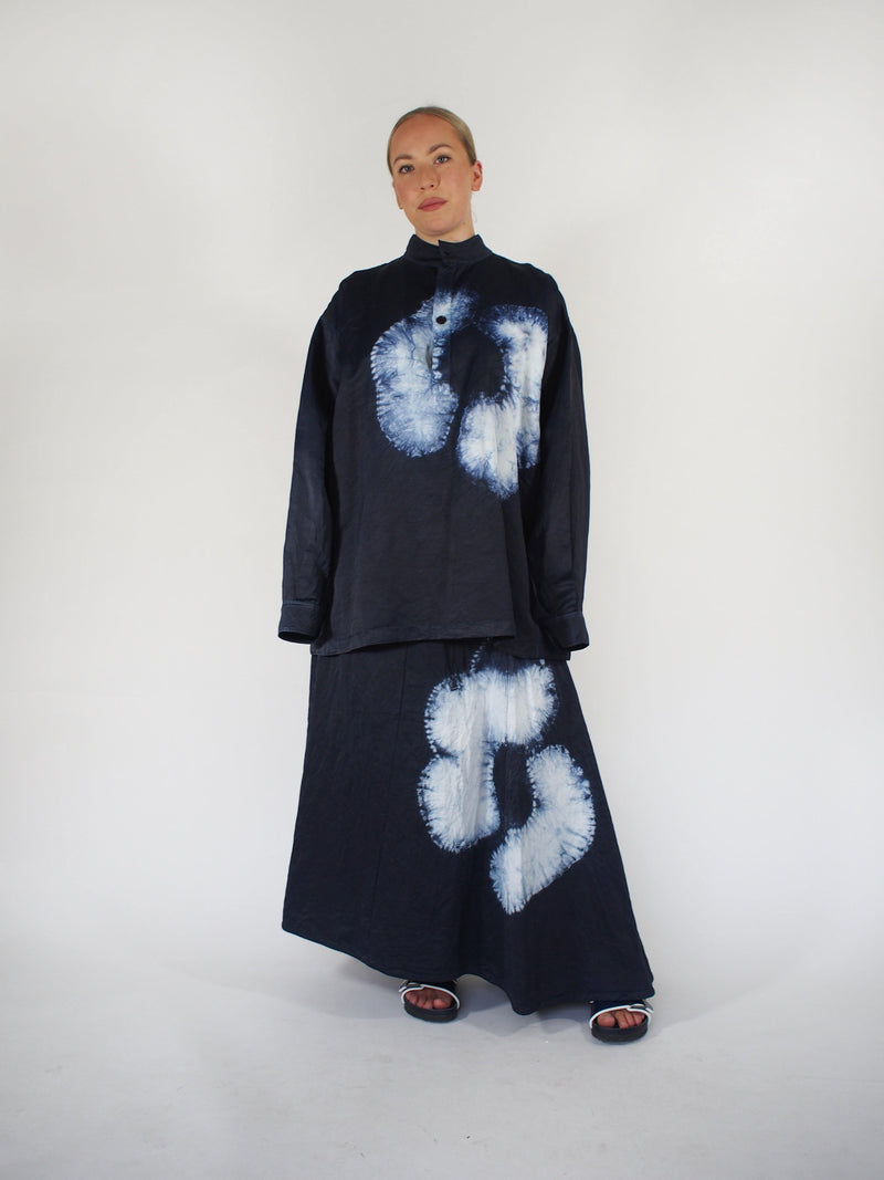 Marianne Flamed Satin Batik Shirt - Navy Blue