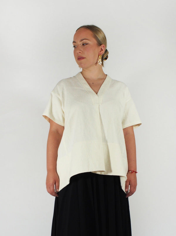 Maria Slubbed Raw Silk Linen SS Top
