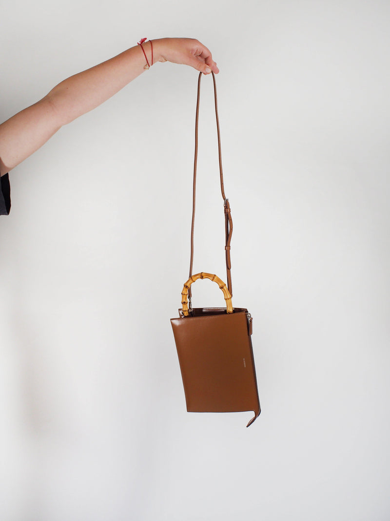 Bamboo Handle Tootie Bag - Caramel