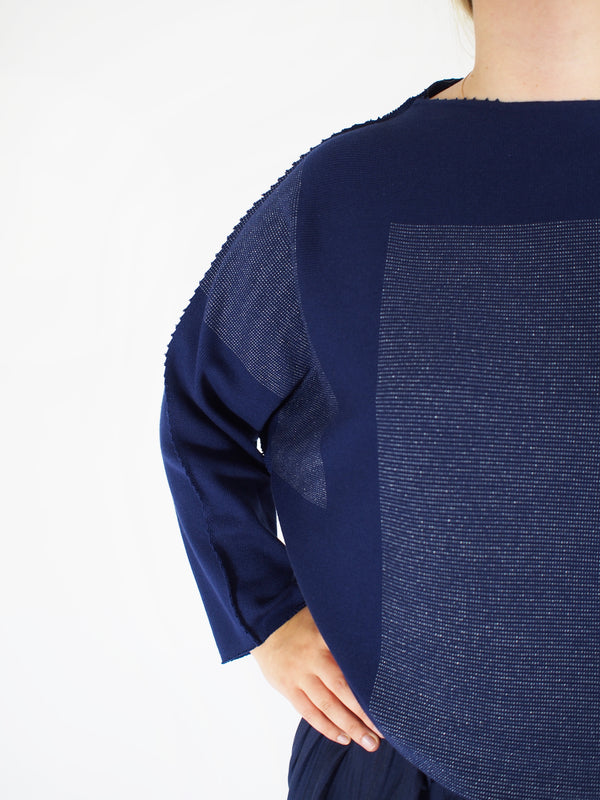 APOC Pin Dot Block Sweater - Cobalt