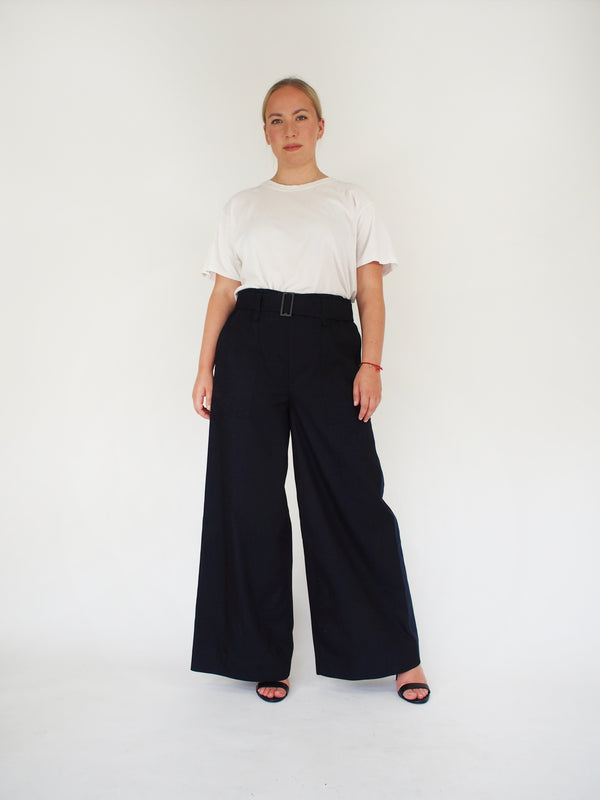 Cotton Chambray Belted Wide Leg Pant - Black