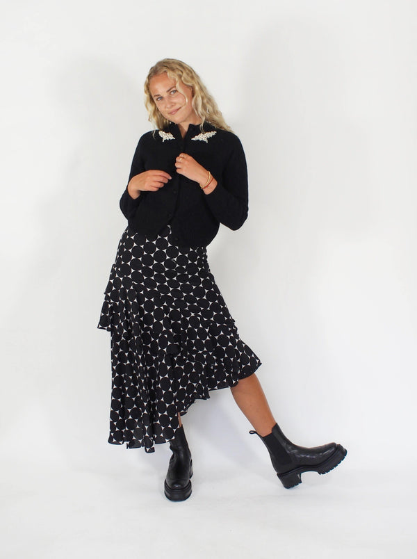Polka Dot Ruffled Teired Hem Skirt