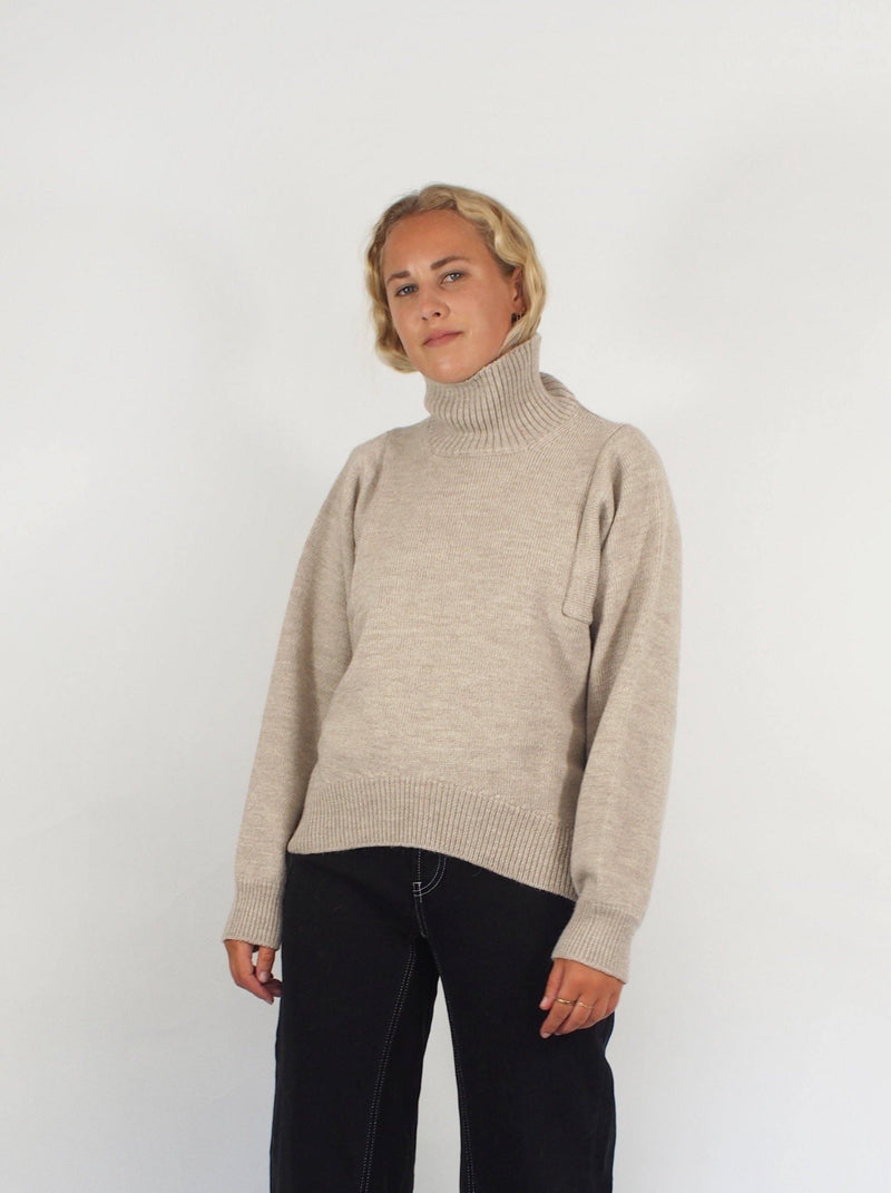 Mock Turtle Alpaca Sweater - Taupe