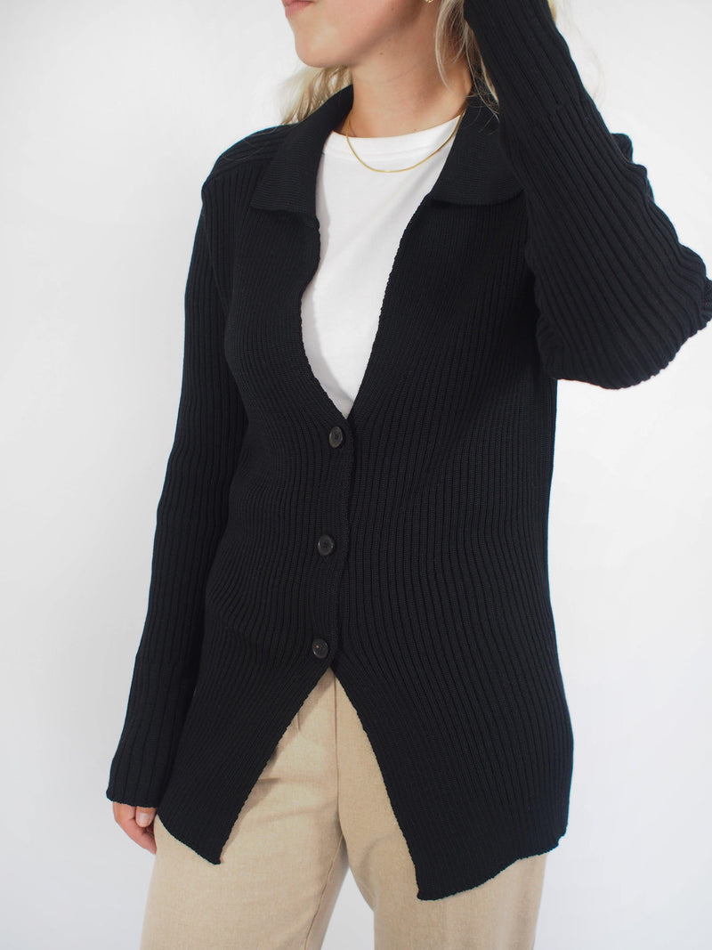 Ribbed Cut Away Cardigan -Black