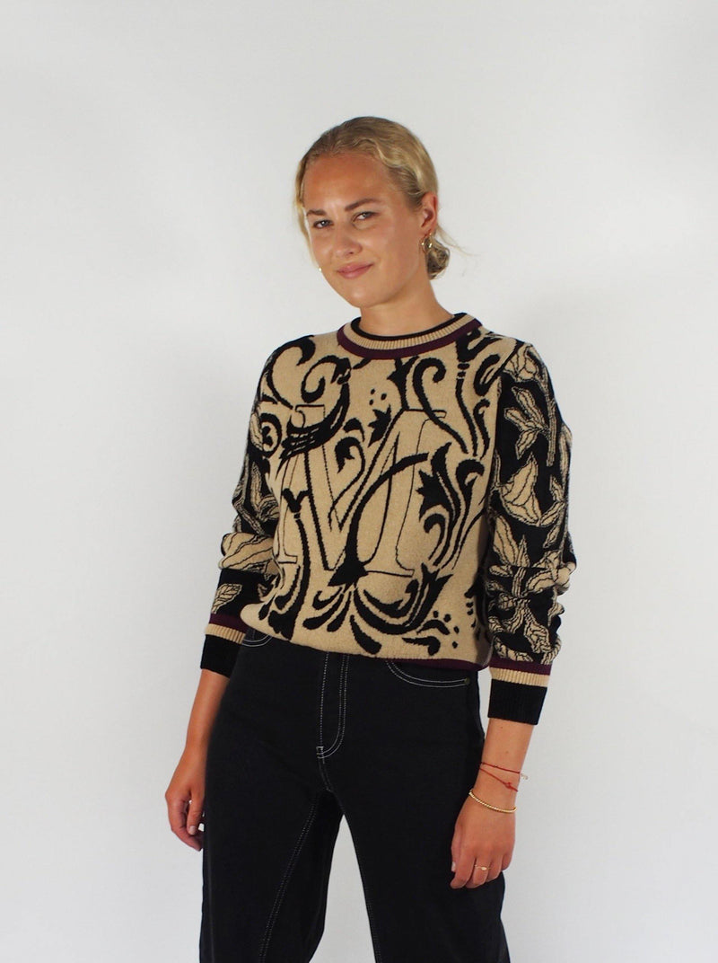 Floral Reversible Crew Neck - Camel