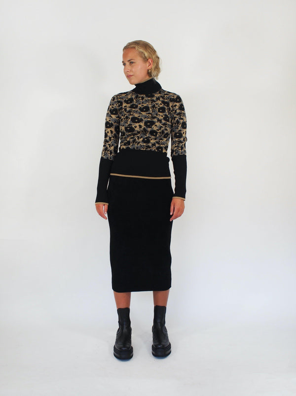 Reversible Chenille Tube Skirt - Black